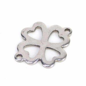 Connecteur feuille de trèfle à 2 oeillets acier inoxydable 12×16 mm