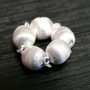 Magnetic clasp 925 silver matt brushed Ø 8 – 15 mm