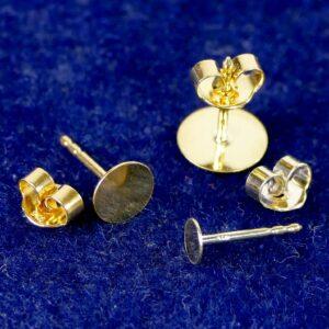 Ohrstecker mit Platte 925 Silber *vergoldet* 4-8mm 1 Stück