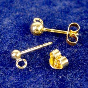 Ohrstecker mit Kugel 925 Silber *vergoldet* 3-4mm 1 Stück