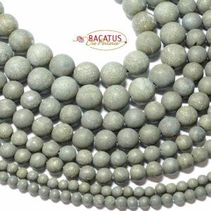 Pyrite matt round 4 – 12 mm, 1 strand