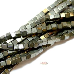 Pyrite cubes 3×3 & 4×4 mm, 1 strand
