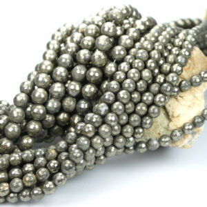 Pyrite faceted round 2 – 10 mm, 1 strand