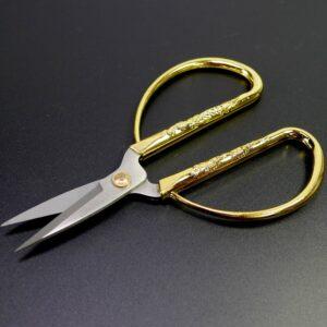 Schere mit Drache Phönix auf goldenem Griff 13x7cm