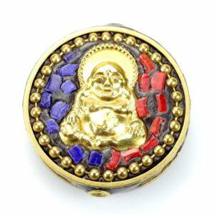 Tibetische Perle Buddha gold 28×10 mm