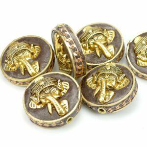 Tibetische Perle Elefant gold 28×14 mm