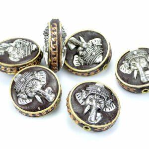 Tibetische Perle Elefant silber 28×14 mm