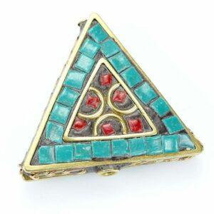 Tibetische Perle Dreieck 28x31x9 mm türkis