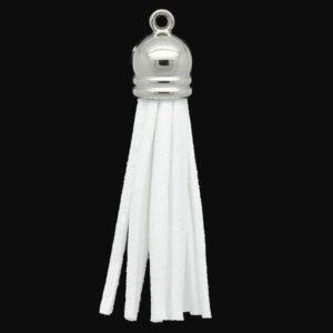 Quaste Velour, weiß 60x10mm mit silberfarbener Kappe