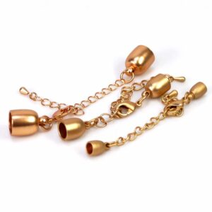 Endkappen + Karabiner + Verlängerung Metall gold matt