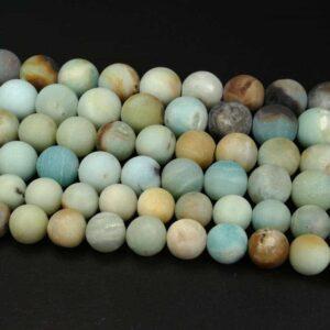 Amazonit Kugel matt mix 4 – 18 mm, 1 Strang