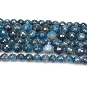 Apatit Kugel facettiert blau grün 8 & 10 mm, 1 Strang