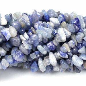 Aventurin Splitter blau 5 x 8 mm, 1 Strang
