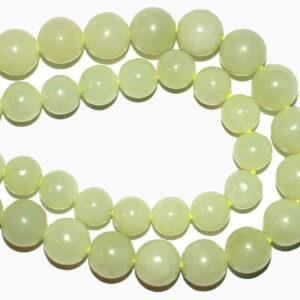 Neue Jade Kugel glanz hellgrün 4 – 10 mm, 1 Strang