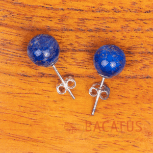 Lapis lazuli ear studs 925 silver 8 mm, 1 pair