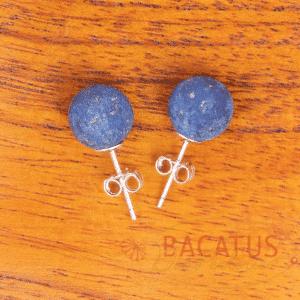 Lapis lazuli matt ear studs 925 silver 8 mm, 1 pair