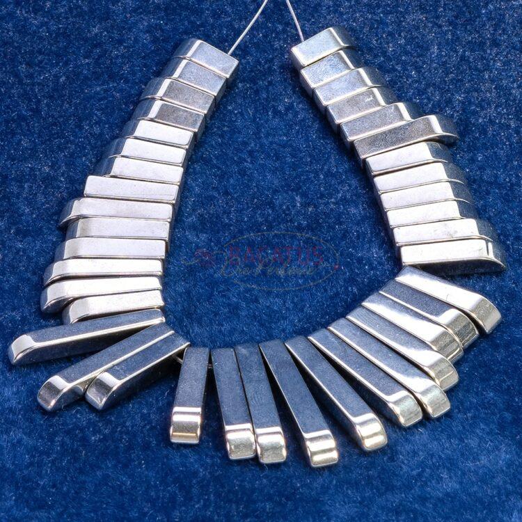 Hämatit-stäbchen-collier-silber