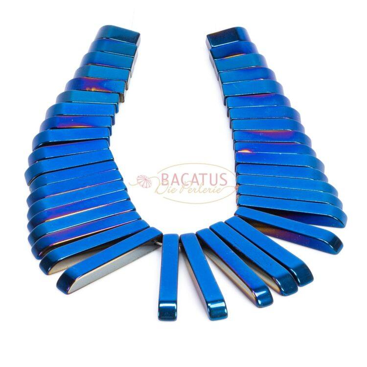 Hämatit-stäbchen-collier-blau