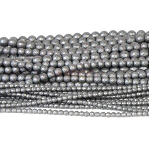 Sfera di ematite sfaccettata antracite opaco 2 – 8 mm, 1 filo