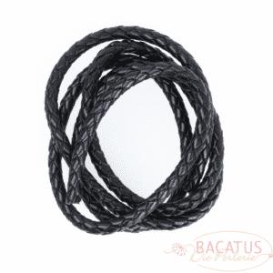 Cordon cuir tressé 6 mm noir 1m