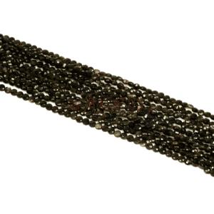 Monete in oro ossidiana sfaccettate 4 mm, 1 filo
