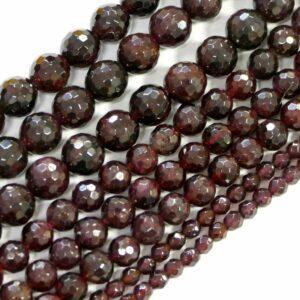 Granat Kugel facettiert 2 – 10 mm, 1 Strang