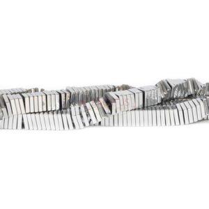 Ematite quadrati argento 8 x 2 mm, 1 filo