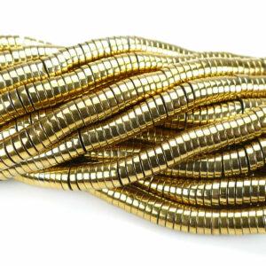 Hämatit Scheiben gold 8 x 2 mm, 1 Strang