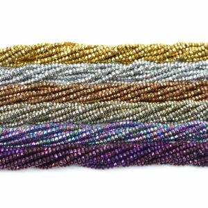 Sélection de couleurs facettées rondelle hématite 2 x 3 mm, 1 fil