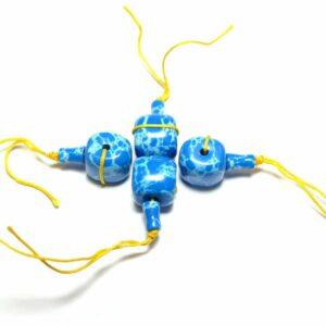 Guru Perle Impression Jaspis blau 12 mm, 2-teil. Set
