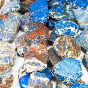 Impression Jaspis Scheiben blau 20 x 35 mm, 1 Strang