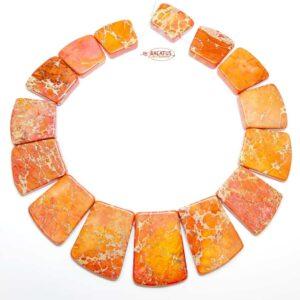 Impression Jaspis Collier orange 18×20 – 25×40 mm, 1 Strang