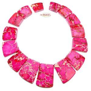 Impression Jaspis Collier pink 18×20 – 25×40 mm, 1 Strang