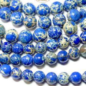 Impression Jaspis Kugel blau 4 – 12 mm, 1 Strang