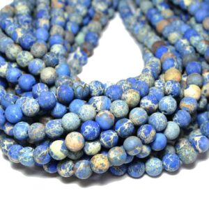 Impression Jaspis Kugel matt blau 4 – 12 mm, 1 Strang