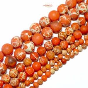 Sfera di diaspro impresso arancione opaco 4 – 10 mm, 1 capo