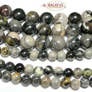 Jasper plain round black silver 10 mm, 1 strand