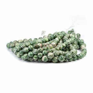 Jaspis Kugel glanz grün weiß ca. 10 – 14mm, 1 Strang