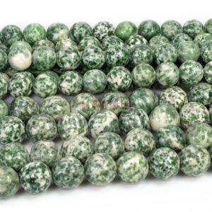 Jaspis Kugel glanz grün weiß ca. 4 – 14mm, 1 Strang