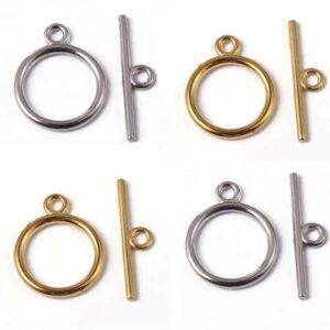 T-Schließe Knebel Verschluss Metall, gold oder silber 18 mm