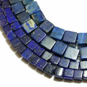 Lapis lazuli cubes 4 – 6 mm, 1 strand