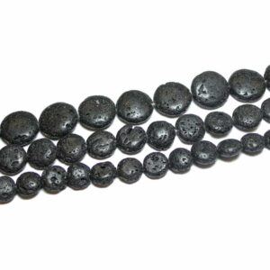 Lava Münzen schwarz 10 – 25 mm, 1 Strang