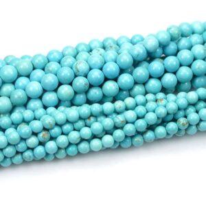 Magnesit Kugel glanz türkis 2 – 14 mm, 1 Strang