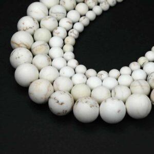 Magnesit Kugel matt weiß 4 – 12 mm, 1 Strang