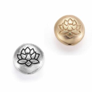Metallperle Lotusblume Linse 14 x 6,5 mm Farbauswahl