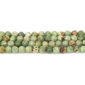 Opal Kugel rau & glanz grün 6 mm, 1 Strang