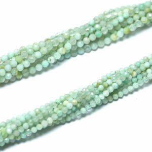 Opal Kugel facettiert hellgrün 2 – 4 mm, 1 Strang