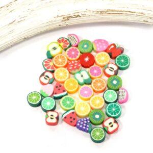 Kunststoffperlen süße Früchtchen ca.9×10 mm, Mix 25 Stück