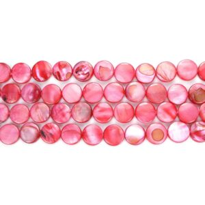 Lenticchie madreperla rosse 10 mm, 1 filo