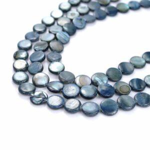 Lenticchie madreperla blu scuro 10 mm, 1 capo